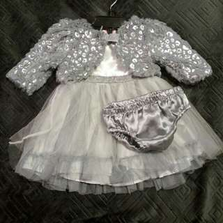 3 piece Silver Holiday Dress