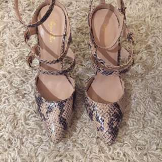 Strappy Snakeskin Heels (Size 7) - NEW WITHOUT BOX