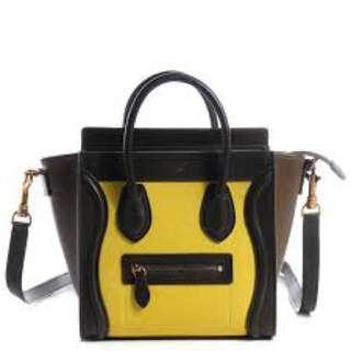 9.8成新Celine luggage nano yellow