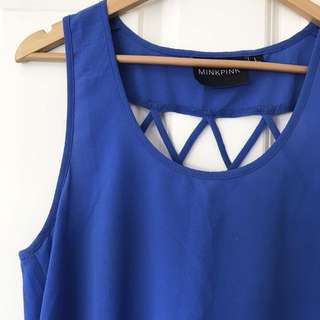 Blue mink pink top