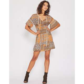Popcherry Mallorca Dress In Brown Size S $38.99 (RRP $54.99)