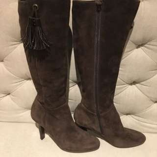 Cole Haan Nike Air brown suede knee high boots with tassel