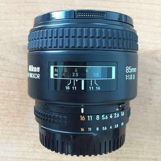 AF Nikkor Nikon 85mm F1.8 D Lens
