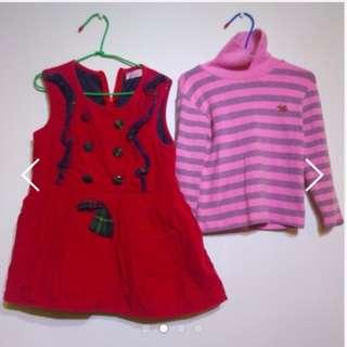 🚚 超值3-5歲保暖淑女裝,兩件搭配一起穿,超保暖。