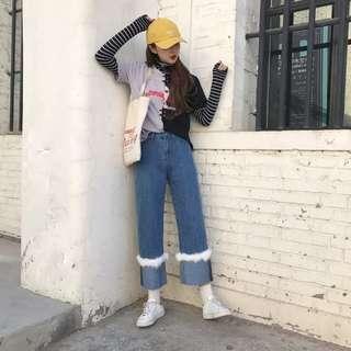 韩版高腰宽松毛邊闊腿裤顯瘦牛仔裤