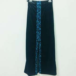 Vintage 古著藍豹紋絨布開衩長裙