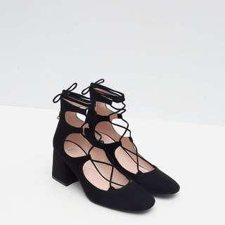Zara Block Lace Up  Heels