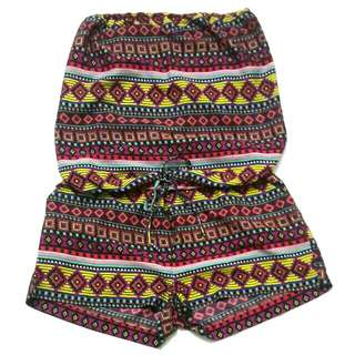 NEW YORKER Tribal Print Tube Top Romper with Pockets by AMISU