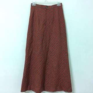 Vintage 日本製格紋毛呢高腰裙
