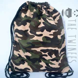 INSTOCK! Camo Green Canvas Drawstring Bag