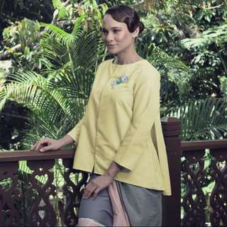 Maslea Khadijah Top and Pareo in Light Yellow