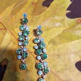 Green stone dangle earrings