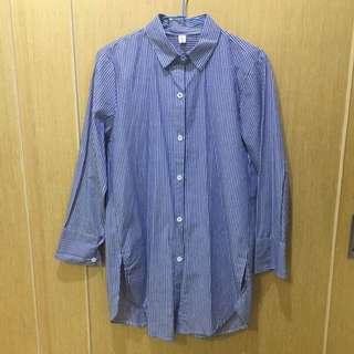 🚚 藍白直條紋長襯衫