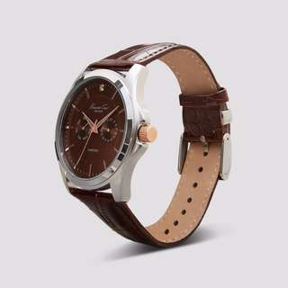 Reprice! KENNETH COLE Silver Watch With Brown Dial And Leather Strap