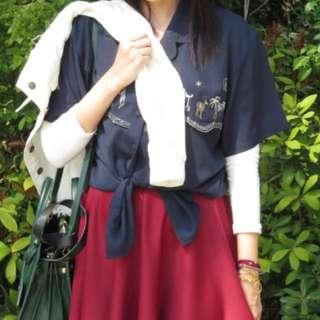 🚚 (免運)日本 古著 刺繡 深藍 睡衣領 襯衫