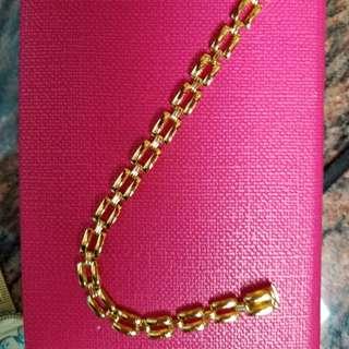 "18K750 Yellow Gold Bracelet        💖 7mm 7""Long💖      18K750 黃金意大利手鍊"