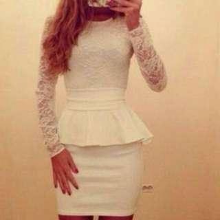 Lacey Long Sleeves Peplum Dress
