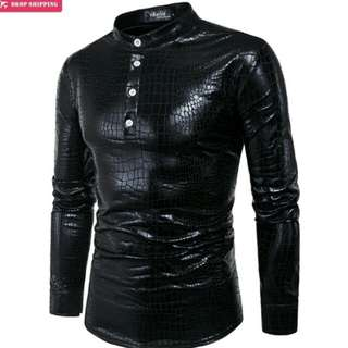 Night Club Wear Men's Metallic Shiny Shirt Long Sleeve