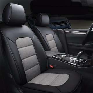 PVC Leather + Linen Car Seat Cushion Cover Whole for 5 Seater Car