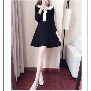 Cute Navy Style Long Sleeve Dress
