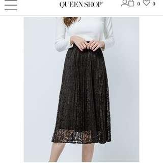 🚚 Queen Shop 百摺蕾絲裙