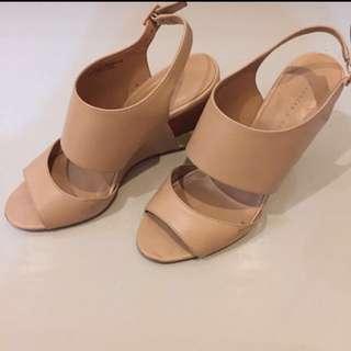 Charles & Keith CK Nude Wedges | Charles and Keith Heels Sepatu #midnightsale