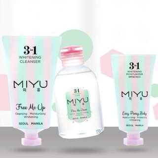 Miyu 3 in 1 Whitening Cleanser, Toner and Moisturizer
