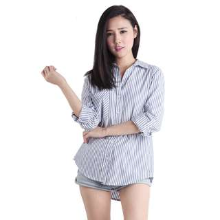 The Tinsel Rack Ralph Boyfriend Shirt (Dark Stripes) Size Small