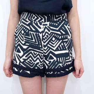 Kookai navy & white pattern shorts
