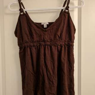 Blue navy - Brown sleeveless top