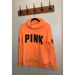 VS PINK NEON ORANGE PULLOVER HOODIE SIZE SMALL