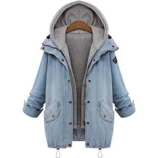 Demin Sleeve Hooded Overcoat + Vest