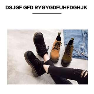 Pyf ♥ 英倫風馬丁靴 繫帶短靴真皮反絨 潮流厚底 休閒短靴 42 大尺碼女鞋