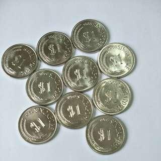 S'pore 1968 $1 (10pcs)