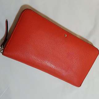 Authentic kate spade red leather long zipper wallet