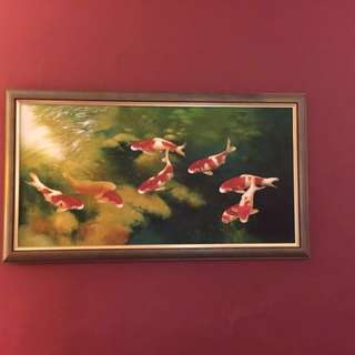 Beautiful Oil Painting of 9 KOI Fish. Looks like live fish in water. Not like other cheap painting. Nicely framed with green rustic frame look