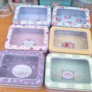 6x Rectangle Storage Tin Container for Cookies/Biscuits, Soap, Wedding, Birthdays, Deco Christmas Gift Present Box