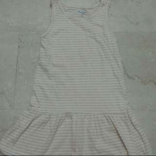 peach and white stripe frock