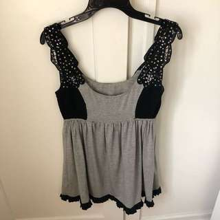 Alice McCall Grey And Black Mini Dress with Sequin Strap Size 10