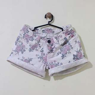 Mid-Rise Denim Shorts with Floral Details
