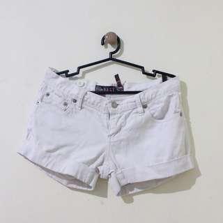 Mid-Rise White Denim Shorts (Brand: Next Jeans)