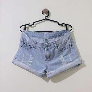 Mid-Rise Light Washed Denim Shorts
