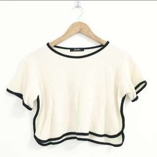 Cream runner crop top