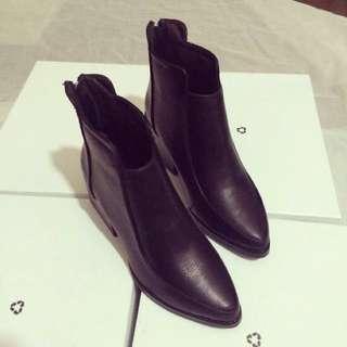 馬丁靴女2017秋冬季新款加絨高跟鞋英倫風短靴粗跟尖頭時尚裸靴潮