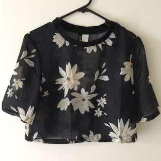 H&M Floral Black Top
