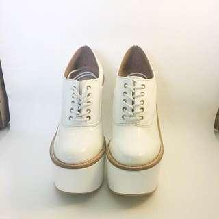 JEFFREY CAMPBELL White Leather Truancy Platform Heels