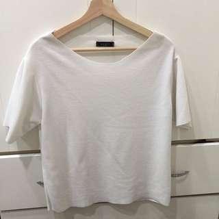韓 白色織紡上衣