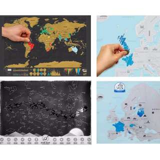 Travel Edition Scratch Off Maps (world/europe/stars)