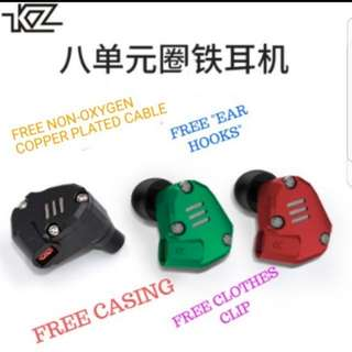 [INSTOCK] KZ ZS6 QUAD DRIVER WITH MIC GREEN [exclusive PREMIUM packaging