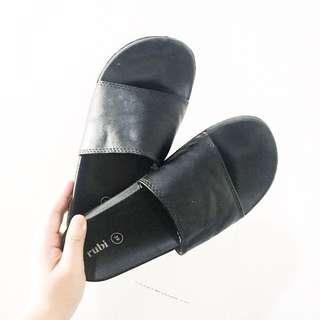 Plain black slides